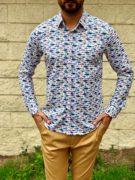 Мужская рубашка с рыбками. Арт.:5-1017-26