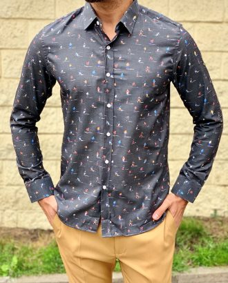 Мужская рубашка темно-серого цвета. Арт.:5-1018-26