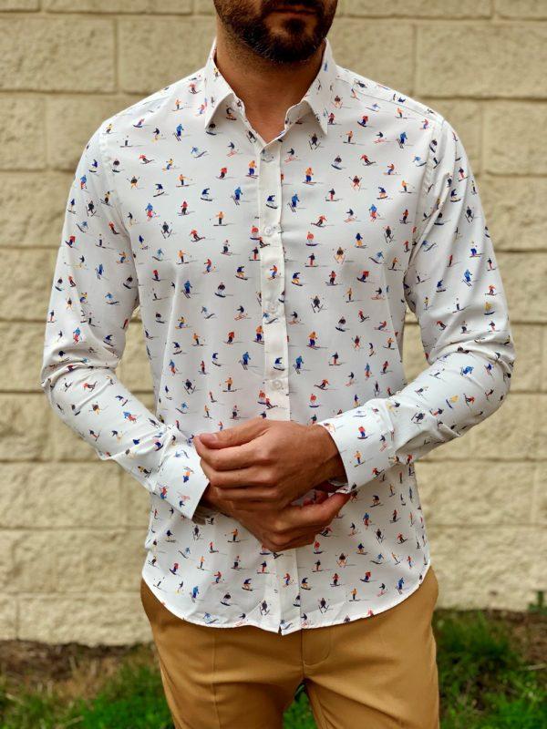 Белая мужская рубашка с принтом. Арт.:5-1019-26