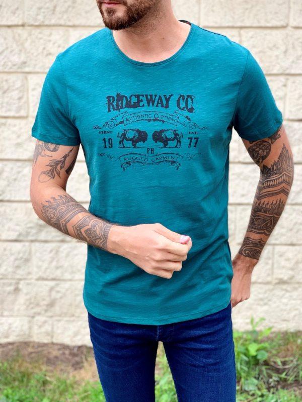 Мужская футболка зеленого цвета. Арт.:16-007