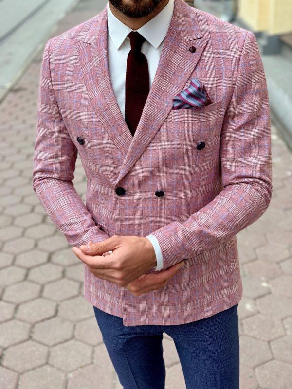 Мужской двубортный пиджак розового цвета. Арт.:2-1003-8