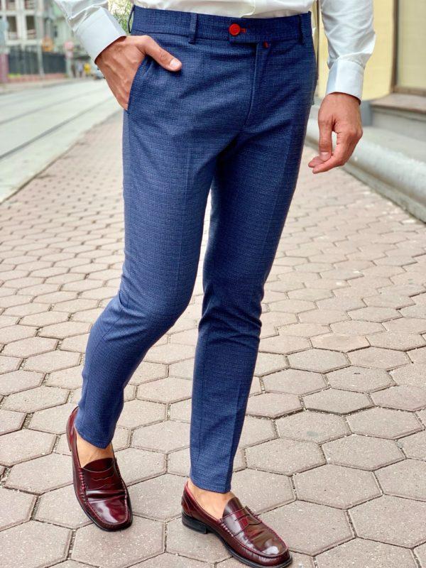 Синие брюки зауженного кроя. Арт.:6-1003-3