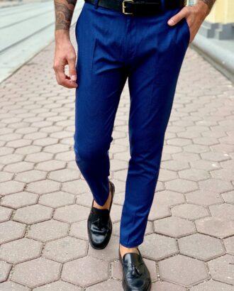 Стильные мужские брюки синего цвета. Арт.:6-1004-3