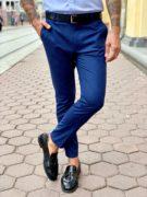 Клетчатый мужские брюки голубого цвета. Арт.:6-960-3