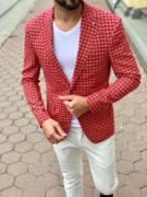 Мужской красный пиджак в клетку. Арт.:2-1005-8