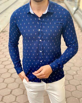 Мужская рубашка синего цвета. Арт.:5-1006-26