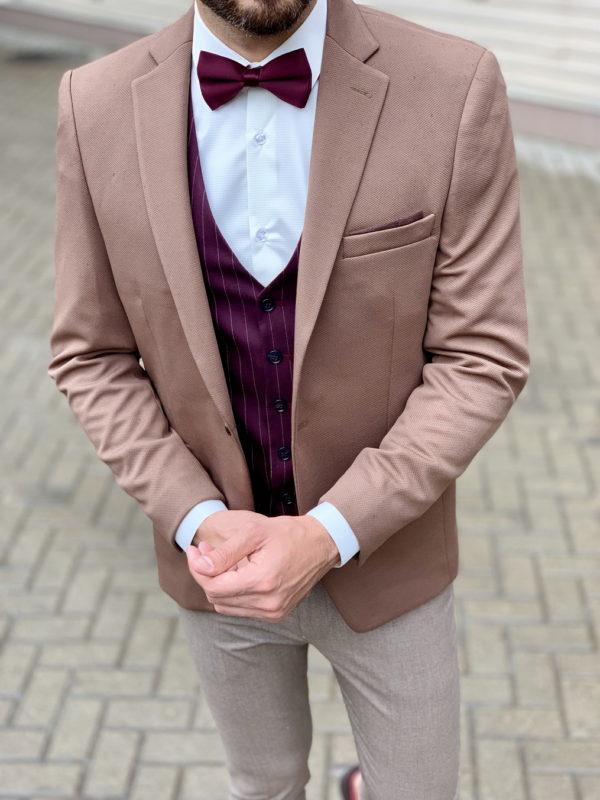 Коричневый мужской пиджак. Арт.:2-1034-2