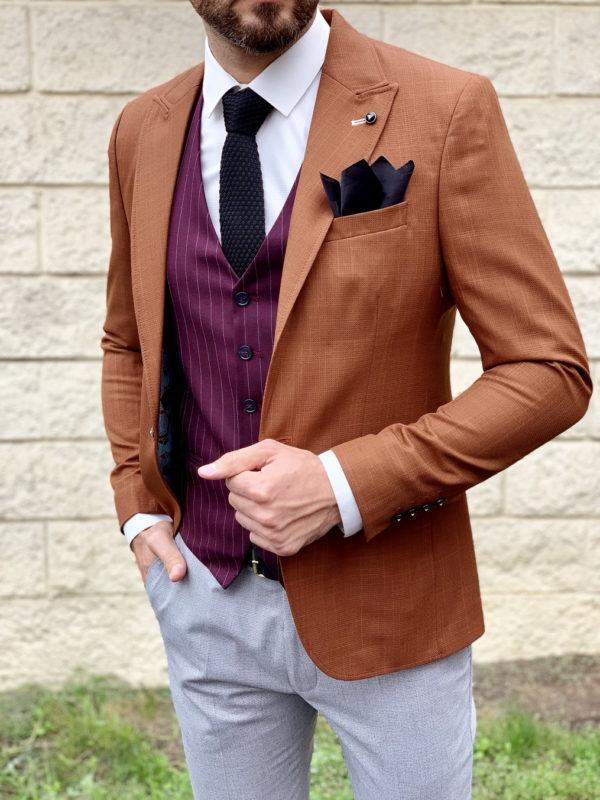 Терракотовый мужской пиджак. Арт.:2-1035-5