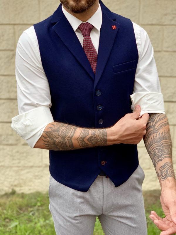 Мужская жилетка синего цвета с лацканами. Арт.:3-1036-3