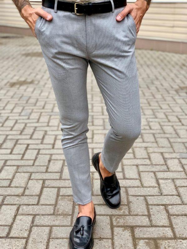 Зауженные брюки серого цвета. Арт.:6-1036-3