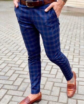 Клетчатые брюки синего цвета. Арт.:6-1038-3