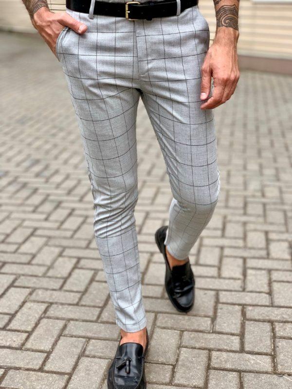 Серые мужские брюки в клетку. Арт.:6-1040-30