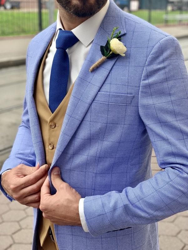 Голубой мужской пиджак в тонкую клетку. Арт.:2-1027-2