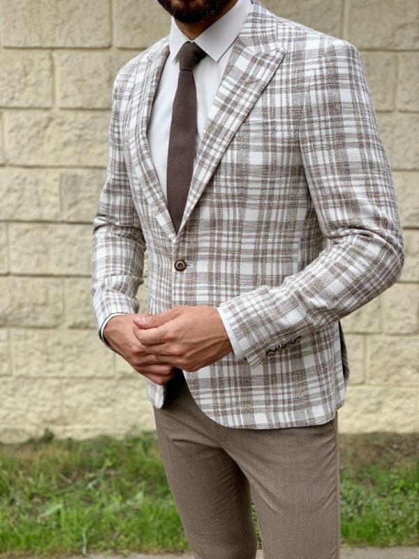 Светлый мужской пиджак в клетку. Арт.:2-1041-5