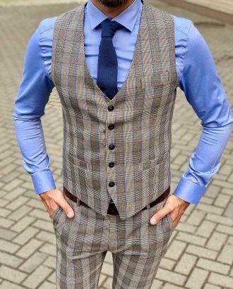 Стильный мужской костюм без пиджака в клетку. Арт.:4-1042-3