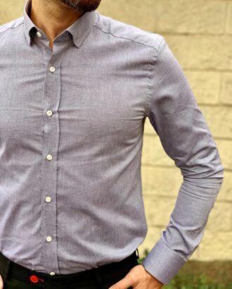Серая мужская рубашка slim fit. Арт.:4-1047-3