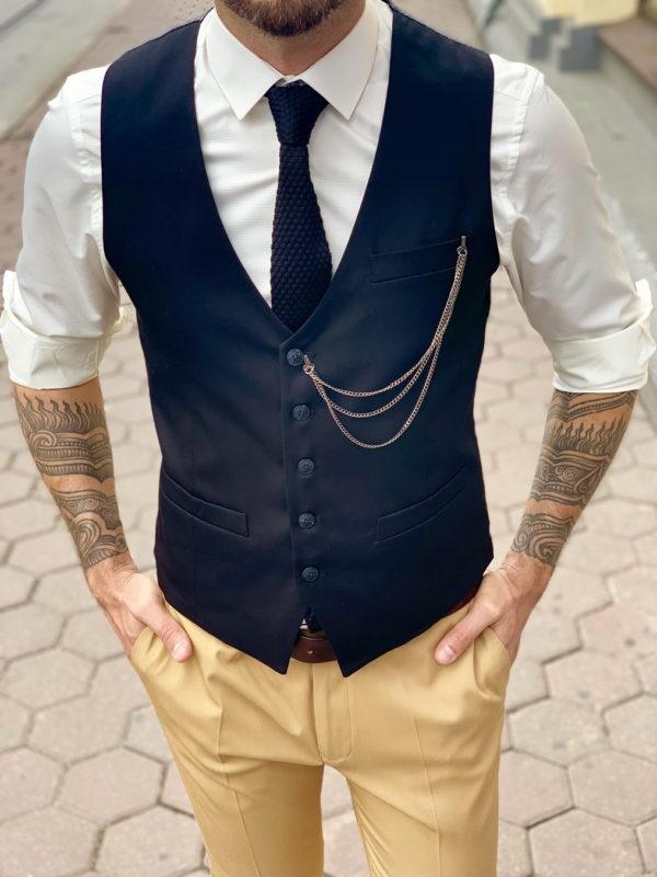 Классический черный жилет для мужчин. Арт.:3-1028-3