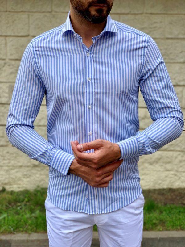 Полосатая голубая рубашка. Арт.:4-1050-3