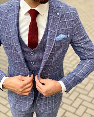 Стильный костюм-тройка синего цвета для мужчин. Арт.:4-1053-3