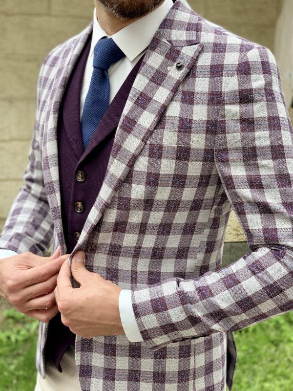 Мужской пиджак в фиолетовую клетку. Арт.:2-1029-5