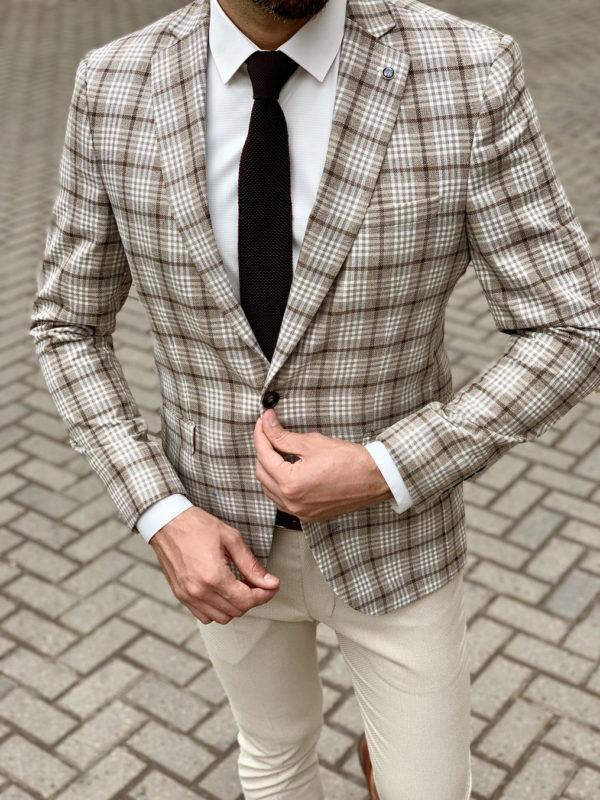 Клетчатый мужской пиджак бежевого цвета. Арт.:2-1030-2