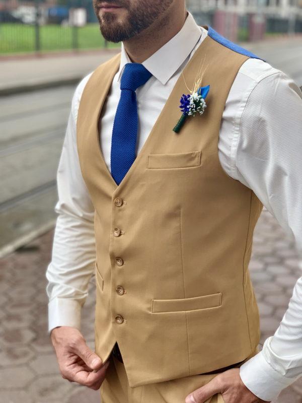 Мужская классическая жилетка горчичного цвета. Арт.:3-1027-3