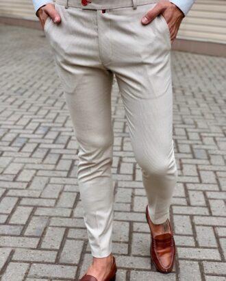Мужские укороченные светлые брюки. Арт.:6-1030-3