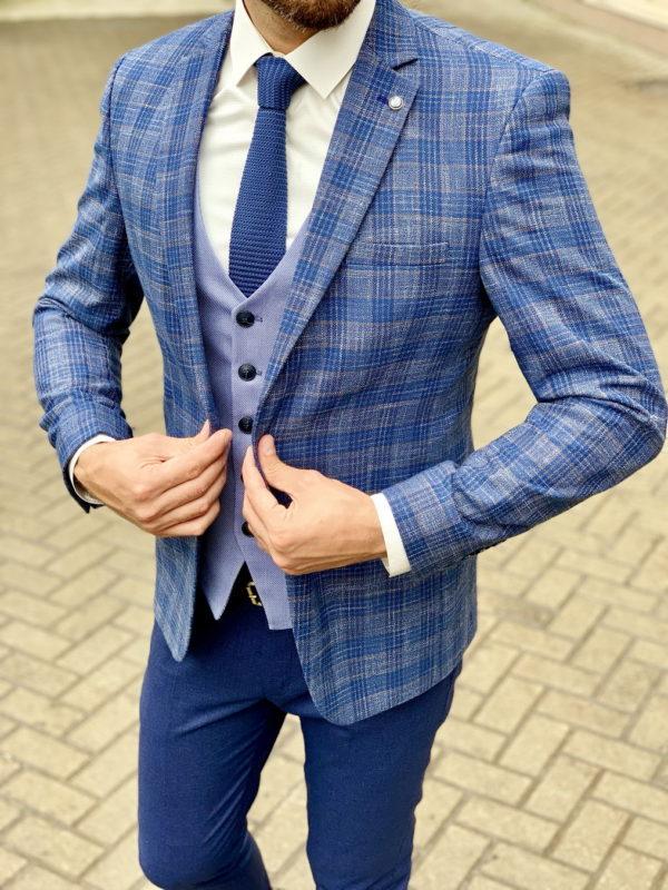 Синий мужской пиджак в клетку. Арт.:2-1031-2