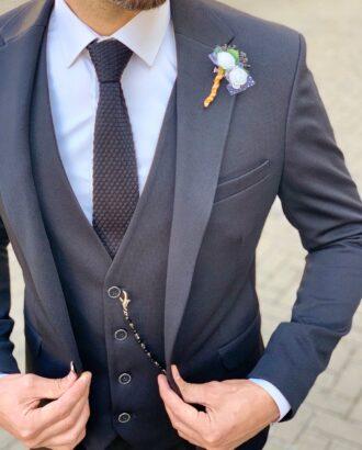Мужской костюм-тройка в черном цвете. Арт.:4-1055-1