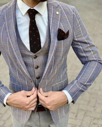 Коричневый костюм-тройка в современном стиле. Арт.:4-1057-3
