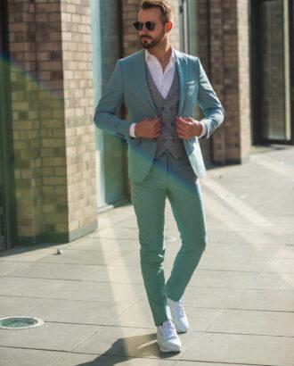 Мужской костюм-тройка зеленого оттенка. Арт.: 4-1023-5