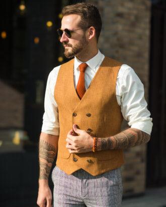 Мужская жилетка терракотового цвета. Арт.: 3-1025-3