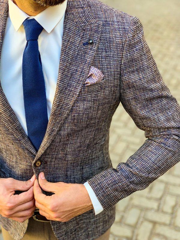 Приталенный мужской пиджак в коричневом цвете. Арт.:2-1111-5