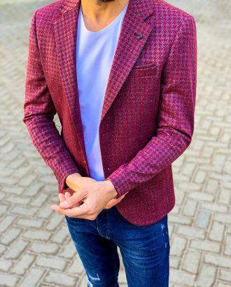 Бордовый мужской пиджак в мелкий рисунок. Арт.:2-1114-5