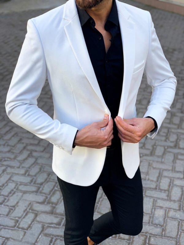 Белый мужской пиджак. Арт.:2-1102-5