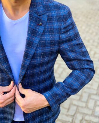 Синий мужской пиджак в комбинированную клетку. Арт.:2-1115-5