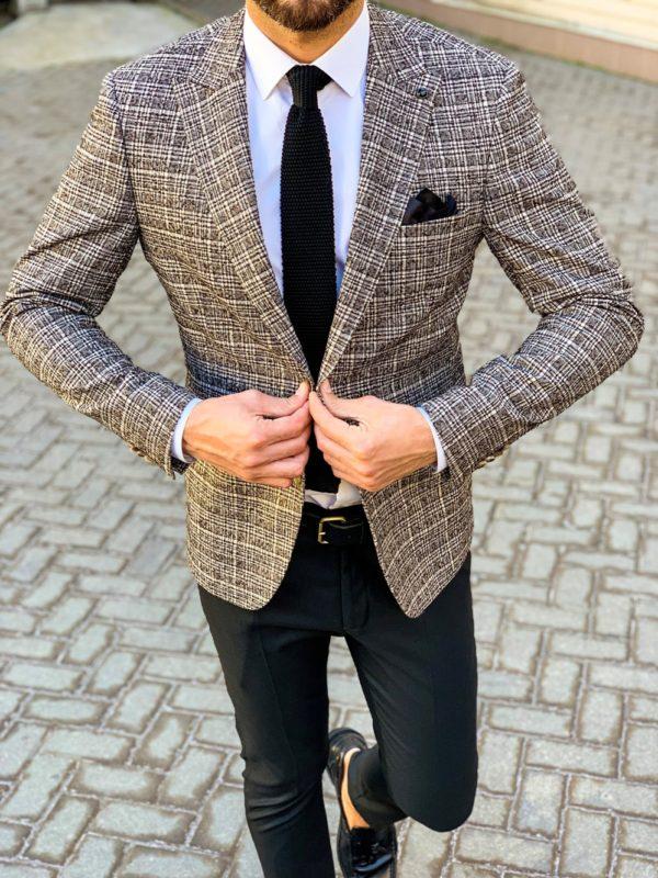 Мужской бежевый пиджак в коричневую клетку. Арт.:2-1101-5