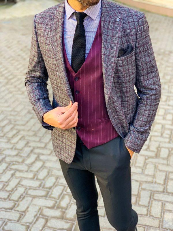 Мужской серый пиджак в бордовую клетку. Арт.:2-1104-8
