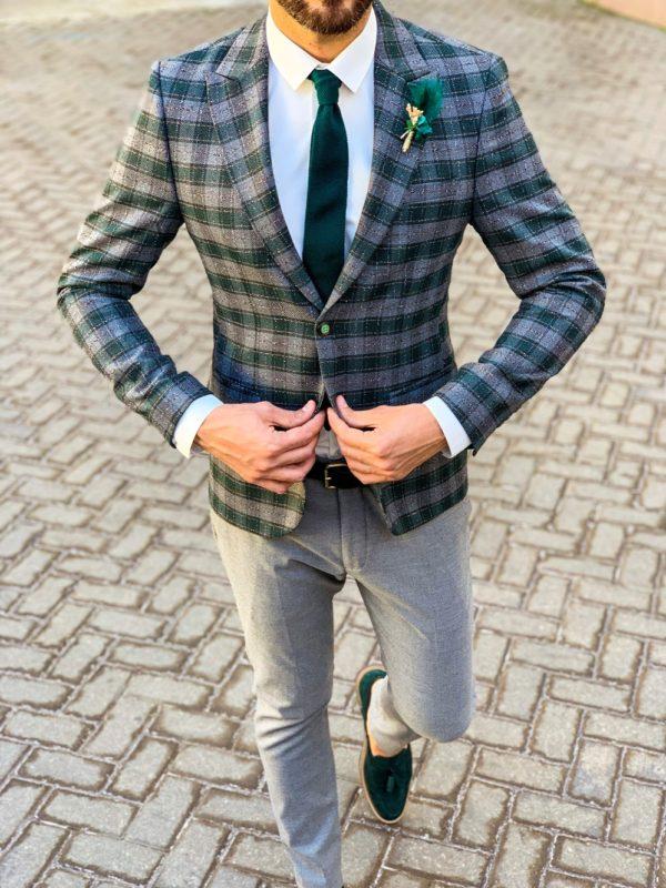 Мужской клетчатый пиджак зеленого цвета. Арт.:2-1107-5