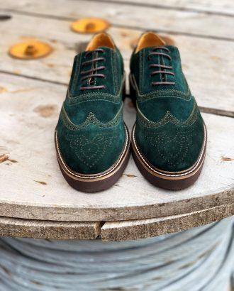 Стильная замшевая обувь зеленого цвета. Арт.: 14-1104