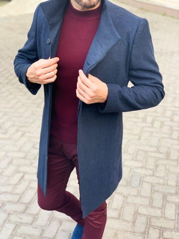Мужское пальто с ассиметричным бортом. 1-1136-2