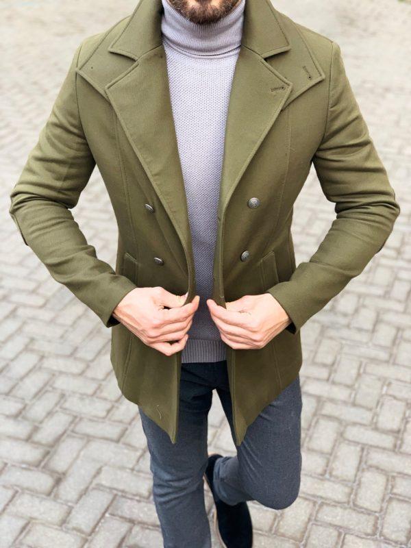Зеленый мужской бушлат. Арт.: 1-1133-2