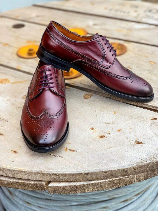Мужская кожаная обувь бордового цвета. Арт.: 14-1103