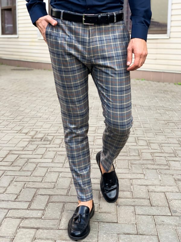 Стильные мужские брюки в крупную клетку. Арт.:6-1132-3