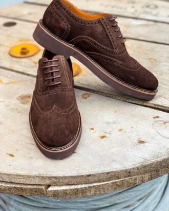 Мужские замшевые броги коричневого цвета. Арт.: 14-1102
