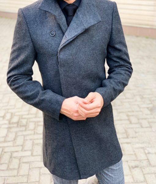 Стильное мужское пальто со скошенным бортом. Арт.: 1-1131-2