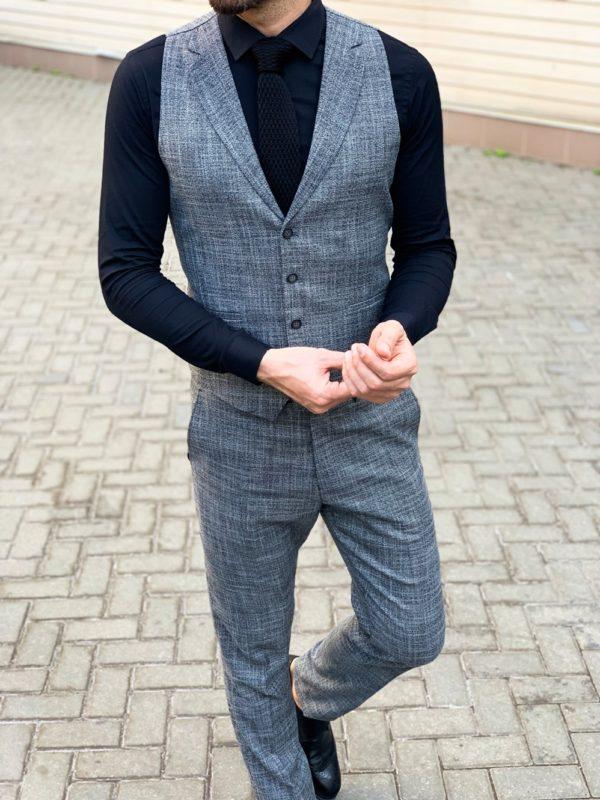 Мужской костюм брюки + жилет серого цвета. Арт.:4-1131-5