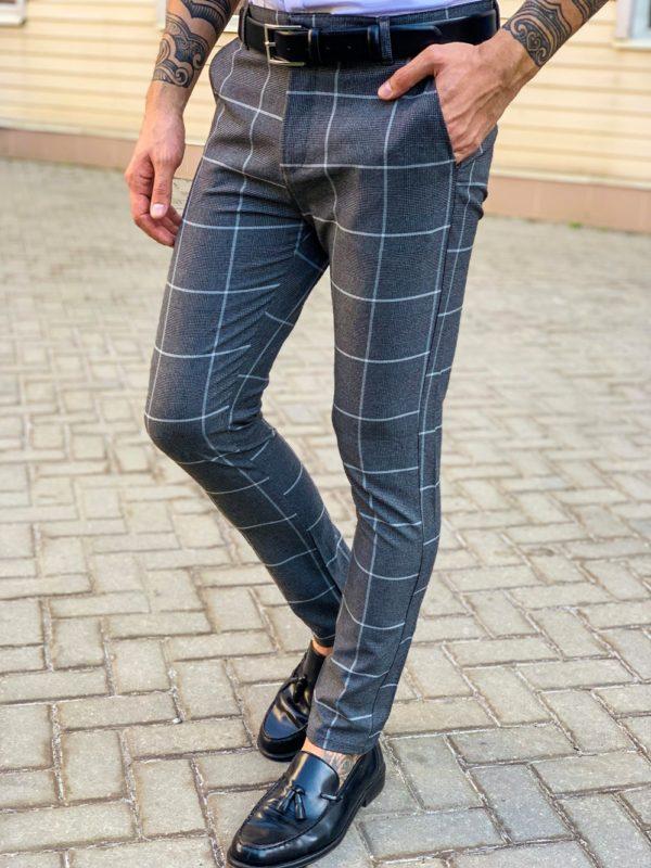 Серые мужские брюки в крупную клетку. Арт.: 6-1130-30