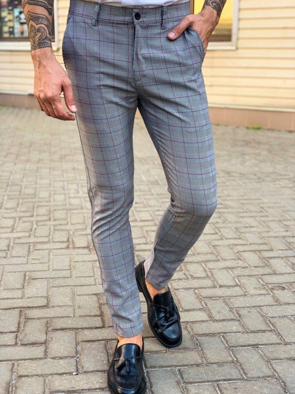 Серые мужские брюки в клетку. Арт.: 6-1129-30