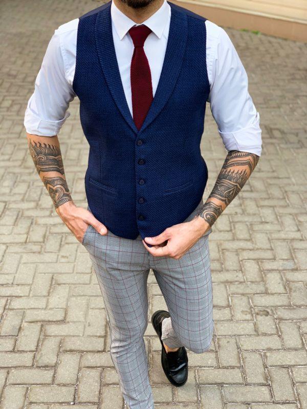 Классический  синий жилет. Арт.:3-1129-5